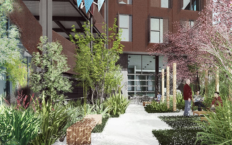 rendering of outside of property, showing activity and greenery